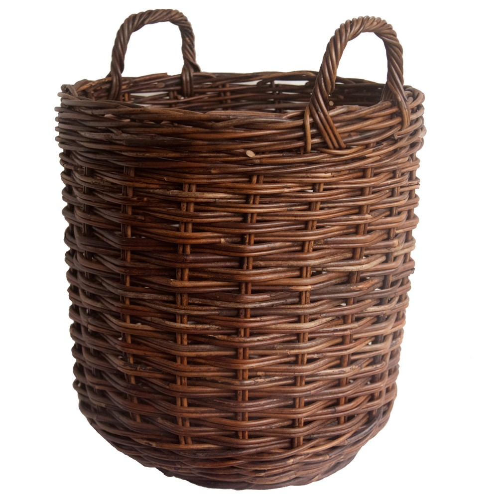 dark croco rattan log basket in 2 sizes kosmopolitan. Black Bedroom Furniture Sets. Home Design Ideas