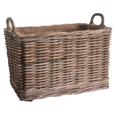 Oblong Grey lined Log Baskets with wheels