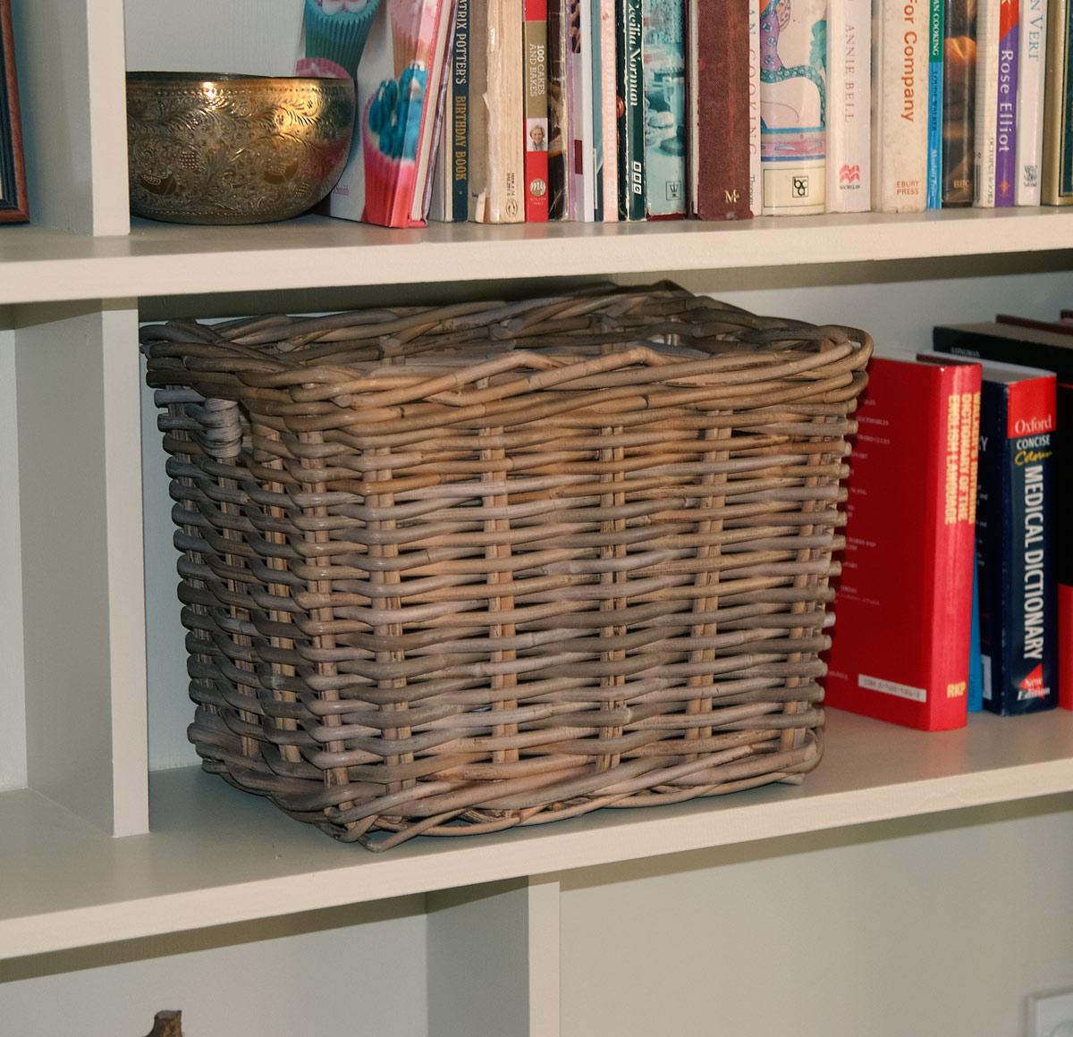 Small Grey Wash Wicker Storage Basket: Small Grey Wicker Storage Basket