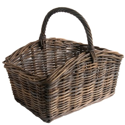 Oblong Greywash Rattan Shopping or Display Basket