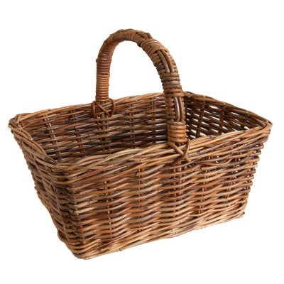 Oblong Lacak Rattan Shopping Basket with Handle