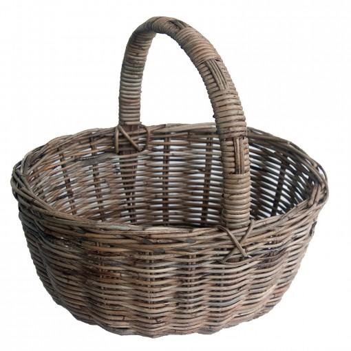 Oval Grey Wicker Shopping Basket