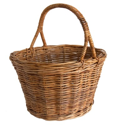 Oval Wicker Split-handle Shopping Basket