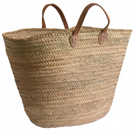 Leather-handled French Market Shopping Basket
