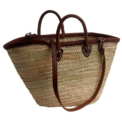 Double handled French Market Basket with leather rim