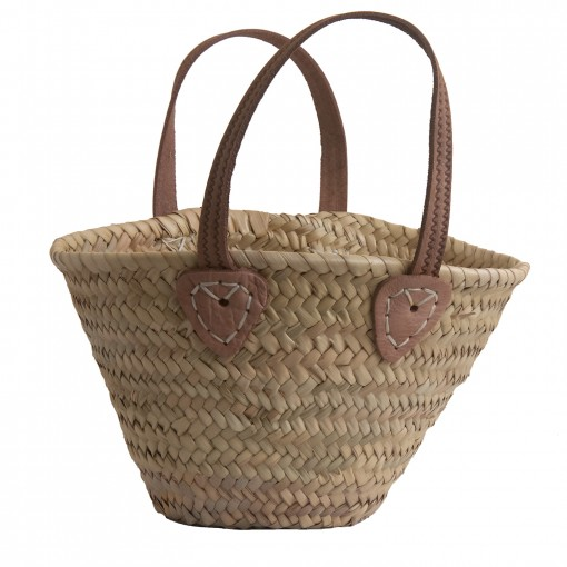 Childs shopping basket with Leather handles