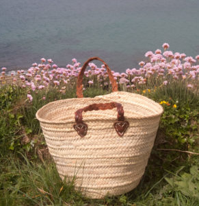 small french shopping basket with plaited handles