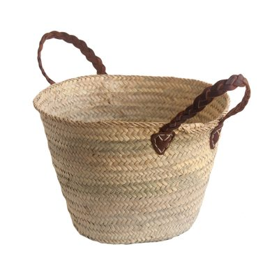 Small Shopping Basket with Plaited Leather Handles