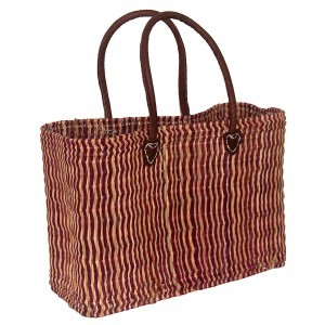Large pink two-tone french market basket