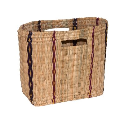 Small Oblong Bulrush Shopping or Storage Basket with cutout handles
