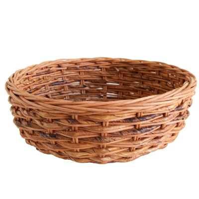 wicker bread or fruit bowl with banana leaf decoration