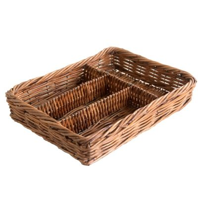 Wicker Cutlery Tray with 4 compartments