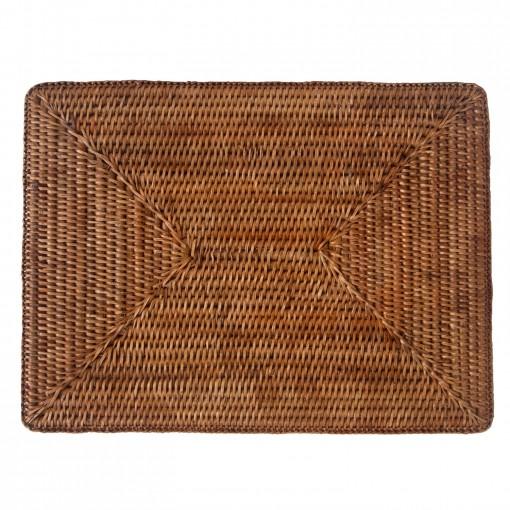 Oblong woven rattan tablemats