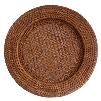 Set of Round Woven Rattan Underplates