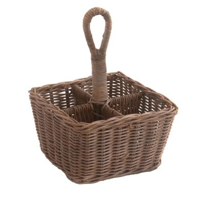 wicker condiment holder 4 bottle