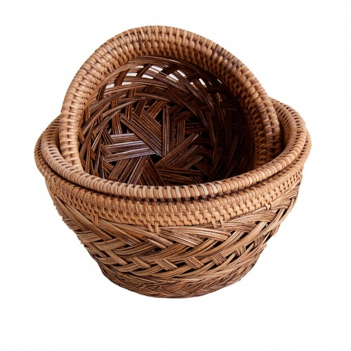 Set of 3 woven Palm Rib Bowls