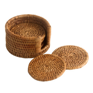 6 Round Woven Rattan Coasters with Case