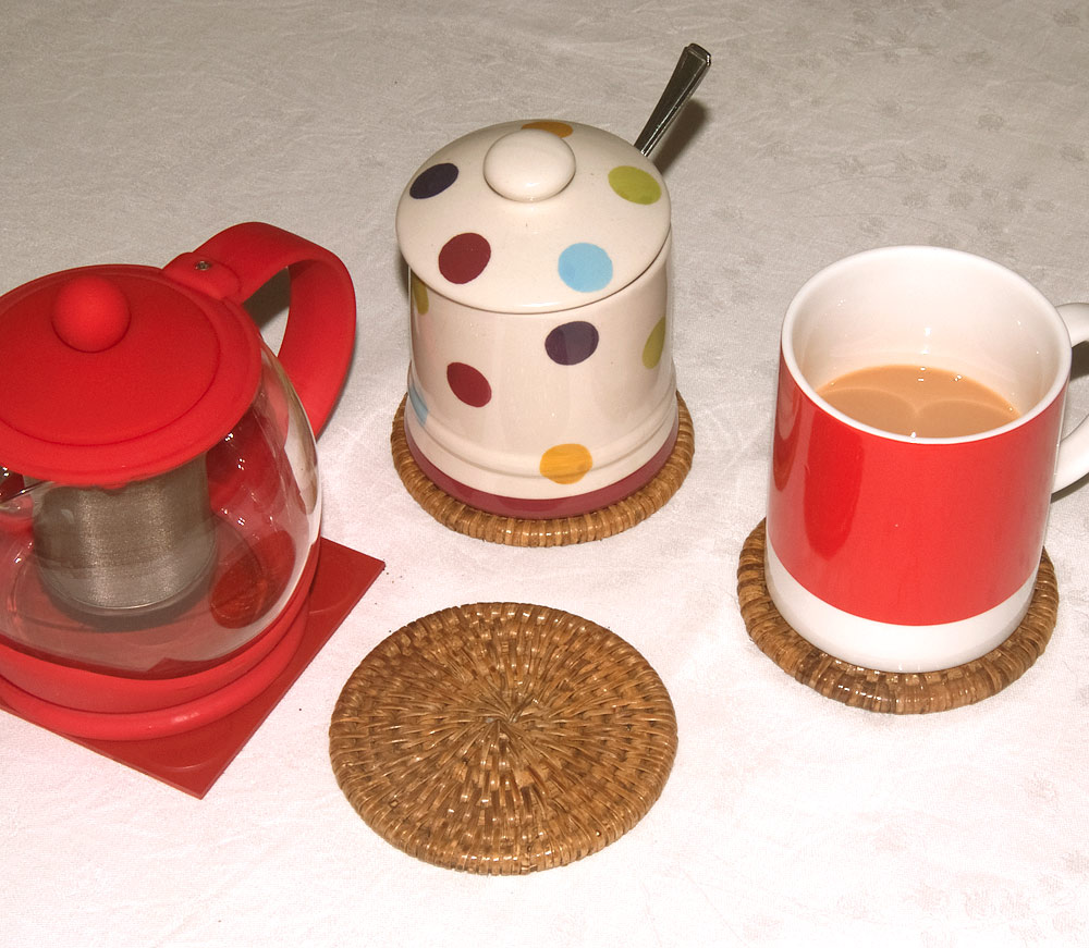 rattan coasters with case