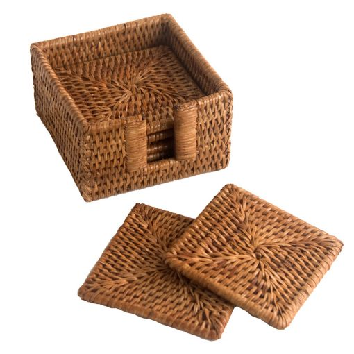6 Square Rattan Coasters with Case