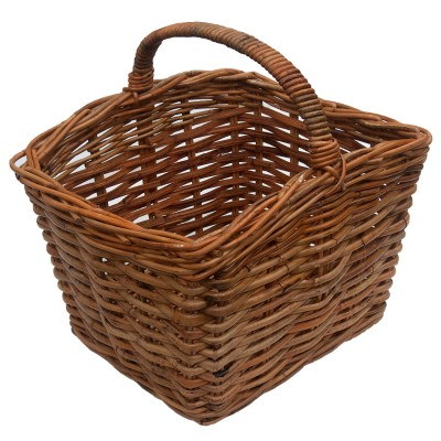 Large Oblong Handled Wicker Log or Shopping Basket