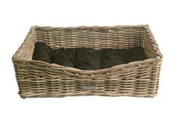 Oblong Grey Wicker Dog Basket