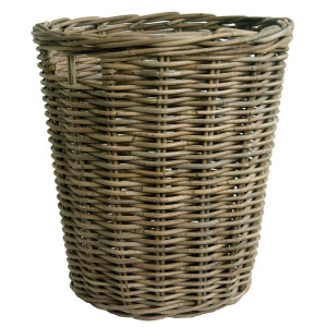 grey wicker log basket