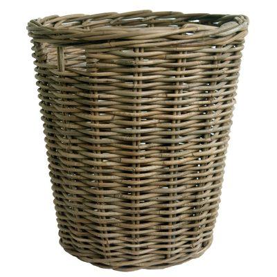 Round Greywash Log Basket