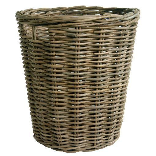 Round Greywash Log Basket