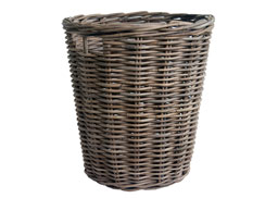 large round rattan log basket