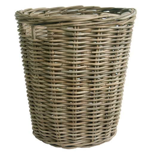Round Grey Rattan Log Basket in 2 Sizes