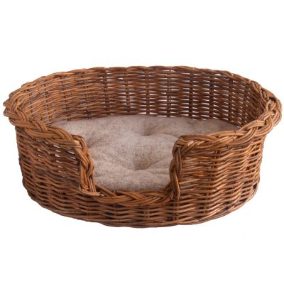 Classic Wicker Dog Basket with Fleece Cushion – Extra Small