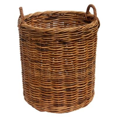 Set of 5 Round Rattan Log baskets