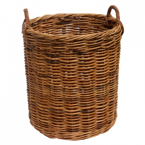 Set of 5 Round Rattan Log baskets
