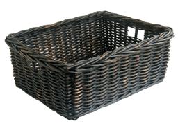 black rattan storage basket