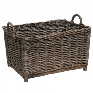 grey oblong log basket