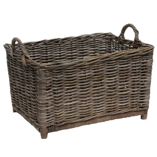 grey oblong log basket
