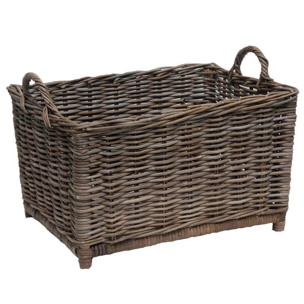 oblong greywash log basket kosmopolitan. Black Bedroom Furniture Sets. Home Design Ideas