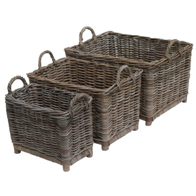 Oblong Greywash Log Basket