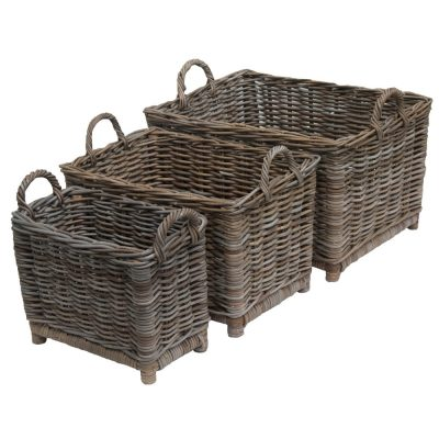Oblong Greywash Log Basket