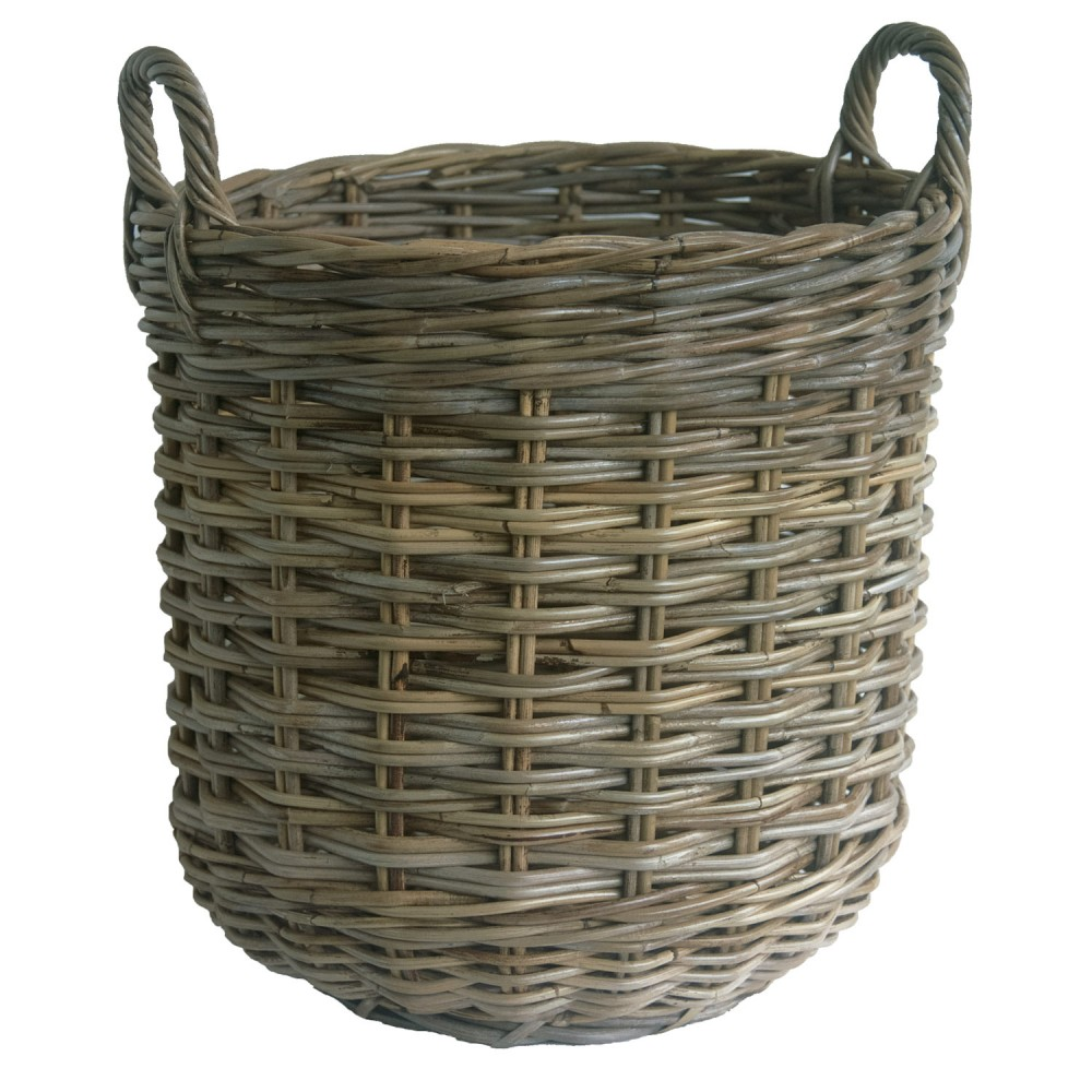 Round Shaped Grey Rattan Log Basket