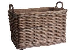 Oblong Grey lined Log Basket