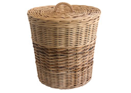 small lined wicker laundry basket