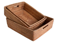 wicker trays in 3 sizes