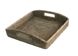 Grey Square Rattan Serving Tray