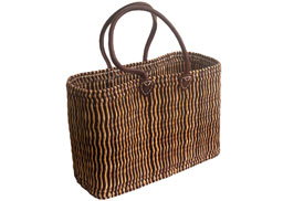 Two-Tone Oblong Bulrush Shopping Basket