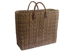 striped shopping basket