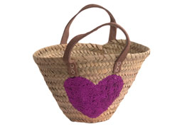 Child's Shopping Basket with Sequin Heart