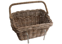 Grey Wicker Bicycle Basket