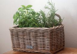 Grey Wicker Window Box Planter