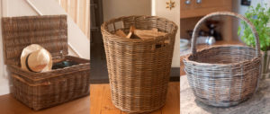 grey wicker baskets